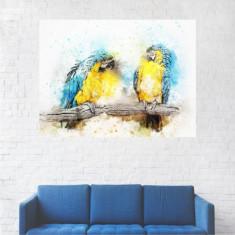 Tablou Canvas, Doi Papagali Albastri - 20 x 25 cm