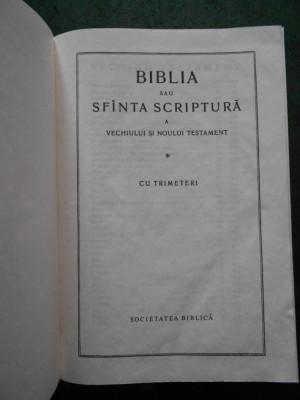 BIBLIA SAU SFANTA SCRIPTURA (1991, SOCIETATEA BIBLICA, 10,5X15cm) foto
