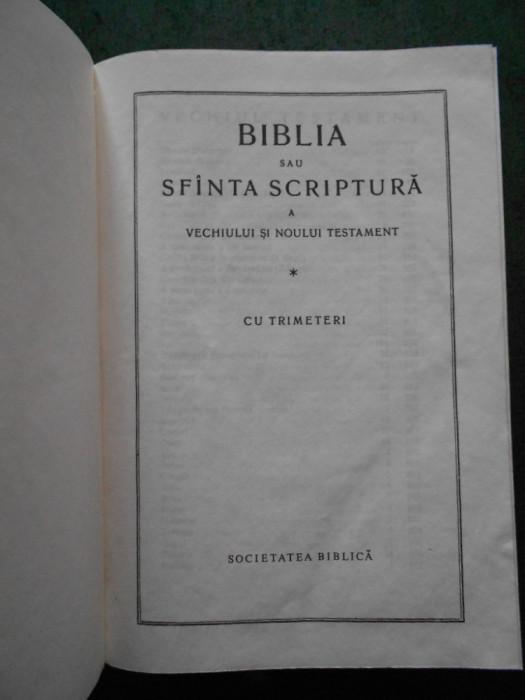 BIBLIA SAU SFANTA SCRIPTURA (1991, SOCIETATEA BIBLICA, 10,5X15cm)