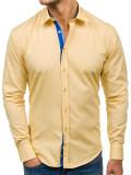 Cumpara ieftin Cămașă pentru bărbat cu mâneca lungă și print decorativ galbenă Bolf 6887