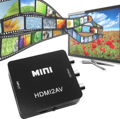 CONVERTOR HDMI LA RCA (AV VGA)-MODEL BLACK 2019-PROCESOR VIDEO MAI PUTETNIC !!! foto