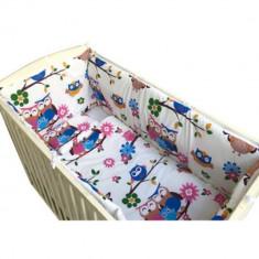 Set lenjerie pentru bebelusi cu aparatori laterale, Bufnita vesela, bumbac 100%