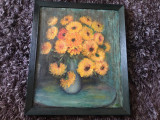Tablou,pictura in ulei pe panza,crizanteme,rama din lemn