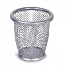 Suport rotund din metal pentru pixuri si creioane, 10,5×10 cm, argintiu