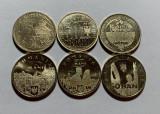 Lot 6 monede 50 Bani 2011-2019, Romania, UNC, de circulatie, din fisic