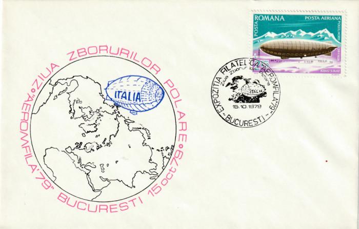 Romania 1979,Aviatie,Plic ocazional,ZEPPELIN , Aeromfila '79-Expo