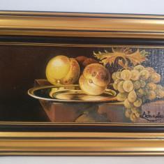 """PICTURA-Tablou nou , """"Fructe de toamna"""", 50x30cm, pictor roman consacrat"""