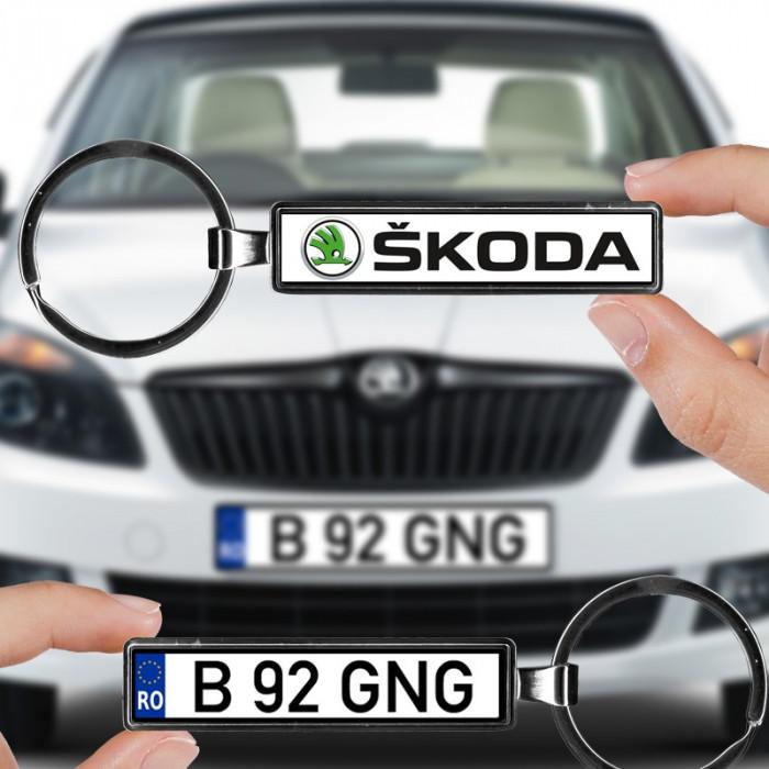 Breloc numar auto Skoda