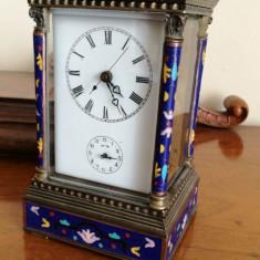 Ceas colecție de voiaj in stil francez din bronz cu email