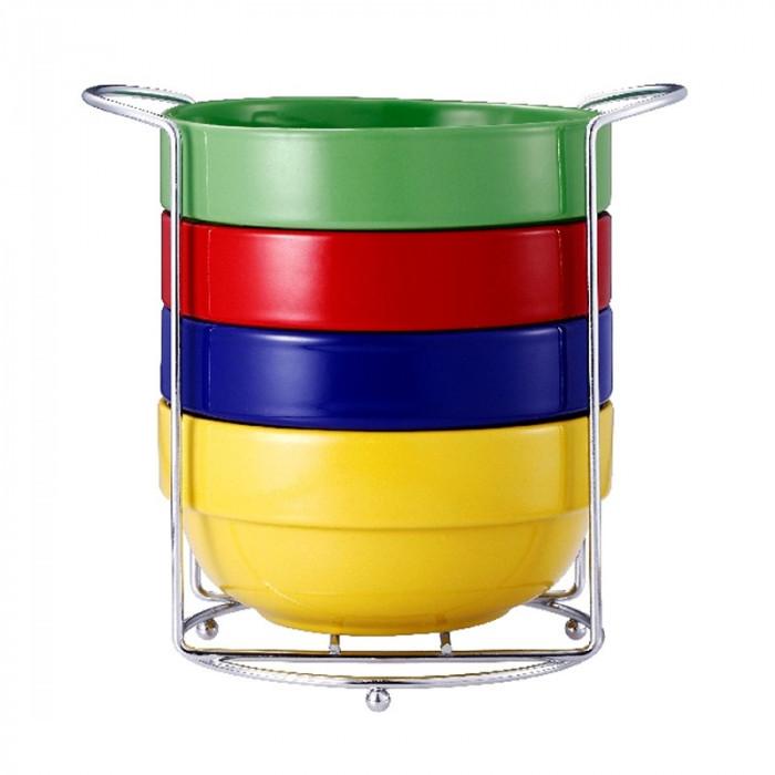 Set 4 boluri Vabene VB-6050040, ceramica, suport inclus