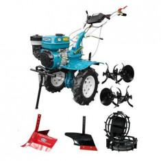 Motocultor DKD HS 1000B, roti metalice, plug arat, rarita reglabila, 7 CP