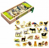 Set animale din lemn cu magneti 23 piese
