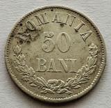 50 Bani 1873, Ag, Romania VF, eroare-matrita crapata, Argint