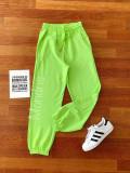 Pantaloni dama lungi verzi cu elastic si buzunare