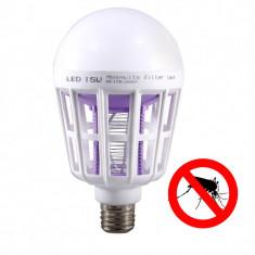 Bec LED 15W si Lampa UV Anti tantari, insecte, Becuri LED, E27, Naturata ( Peste 5000 K)