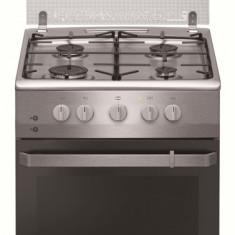 Aragaz cu gaz Hansa FCGX520209, 50 cm, 4 arzatoare, 2 functii, grill, sine laterale, aprindere electrica, siguranta, capac sticla, 58 L, clasa A, inox