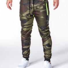 Pantaloni pentru barbati, camuflaj verde, stil militar, army, slim, cu banda, siret si buzunare - P657