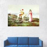 Tablou Canvas, Portret Mama si Copii, Cai - 20 x 30 cm