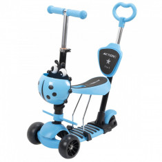 Trotineta reglabila pentru copii, Scooter, Albastru, 5 in 1, cu 3 roti, sezut, maner ajustabil - 19572