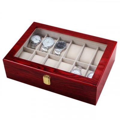 Cutie caseta din lemn pentru depozitare si organizare 12 ceasuri, model Premium foto