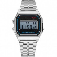 Ceas Electronic Digital Retro iUni WR1, Curea Metalica, Silver