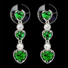Cercei placati cu Aur 18K si Diamante, Calypso Platinum & Green