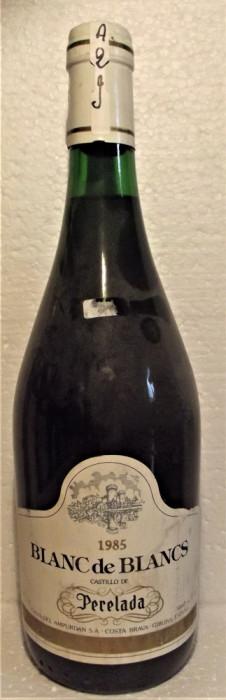 A29- VIN blan de blanc, perelada espana, recoltare 1985 cl 75 gr 11,60