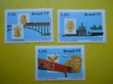 BRAZILIA 1977 – AVION, VAPOR, POD, TREN, serie MNH, DS2, Nestampilat