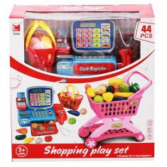 Set de joaca pentru copii supermarket Casa de marcat si cos de cumparaturi cu accesorii 44 piese
