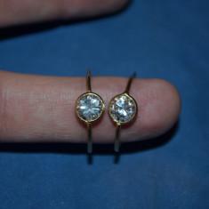 CERCEI AUR 18K - Rotunzi - Cu Zirconia - 2cm diametrul - 2.3g. - 187lei/gr. !
