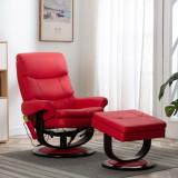 VidaXL Fotoliu rabatabil de masaj, roșu, piele ecologică/lemn curbat