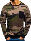 Bluză pentru bărbat fără glugă camuflaj-kaki Bolf 0741