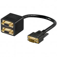 Cablu splitter Goobay VGA tata - 2x VGA mama negru