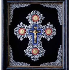 Icoane argintate, Crucifix in rama, dim 33cm x 38cm, cod K-06