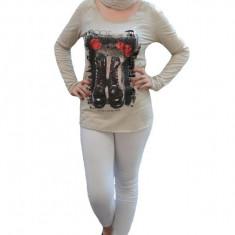 Bluza chic, din bumbac, de culoare bej, cu design modern