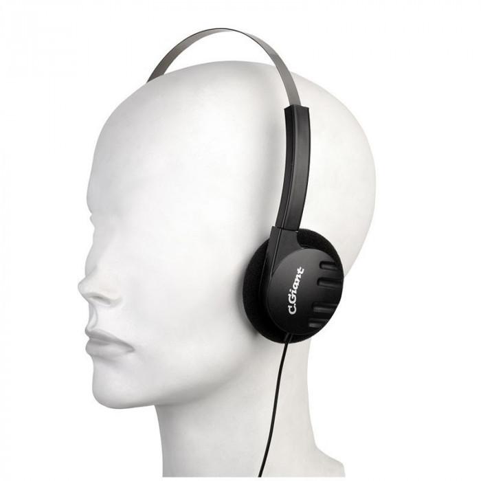Casti stereo cu difuzoare pliabile, mufa 3.5 mm, fir 5 m, negru, Sal