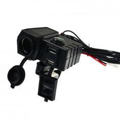 Priza USB x 2, bricheta x 1, Voltmetru digital moto, busola, led albastru, negru