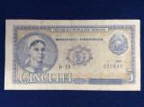Bancnote România - 5 lei 1952 - seria b 18 222837 (starea care se vede)