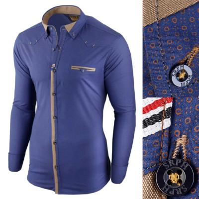 Camasa pentru barbati, albastru, slim fit, elastica, casual, cu guler - genesis foto
