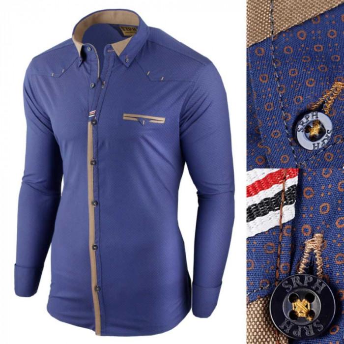 Camasa pentru barbati, albastru, slim fit, elastica, casual, cu guler - genesis