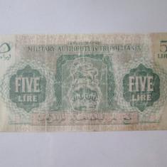 Cumpara ieftin Rara! Tripolitania(Libia Italiana) 5 Lire 1943 Administratia Militara Britanica
