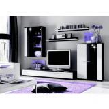 antamblu living, cu iluminare LED, alb/negru extra lucios HG, CANES NEW