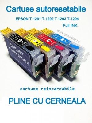 PACHET Cartuse PLINE CU CERNEALA autoresetabile EPSON T1291 T1292 T1293 T1294... foto