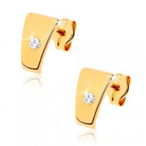 Cercei din aur 585 - trapez cu diamant transparent în mijloc