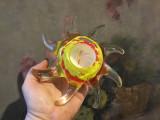 Arta si Design - Sfesnic / Suport pentru lumanare din sticla colorata / Soare !