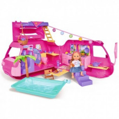 Papusa Simba Evi Love 12 cm Holiday Fun cu rulota si accesorii