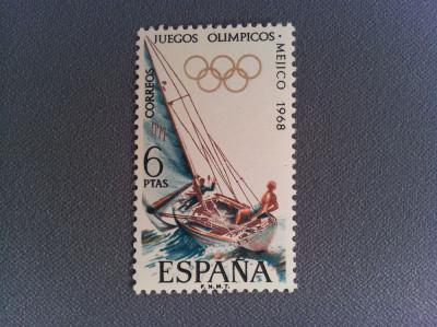 Timbru Spania 1968 6 Ptas Jocurile Olimpice Mexic foto