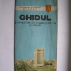 Ghidul traseelor de transport in comun Bucuresti (ITB) - anul 1982