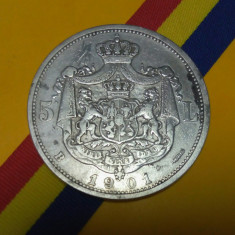 SV * Romania  5  LEI  1901  *   ARGINT .835  *  Regele Carol I  *  mai rară