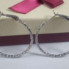 Cercei model veriga,dublu placati Rodiu